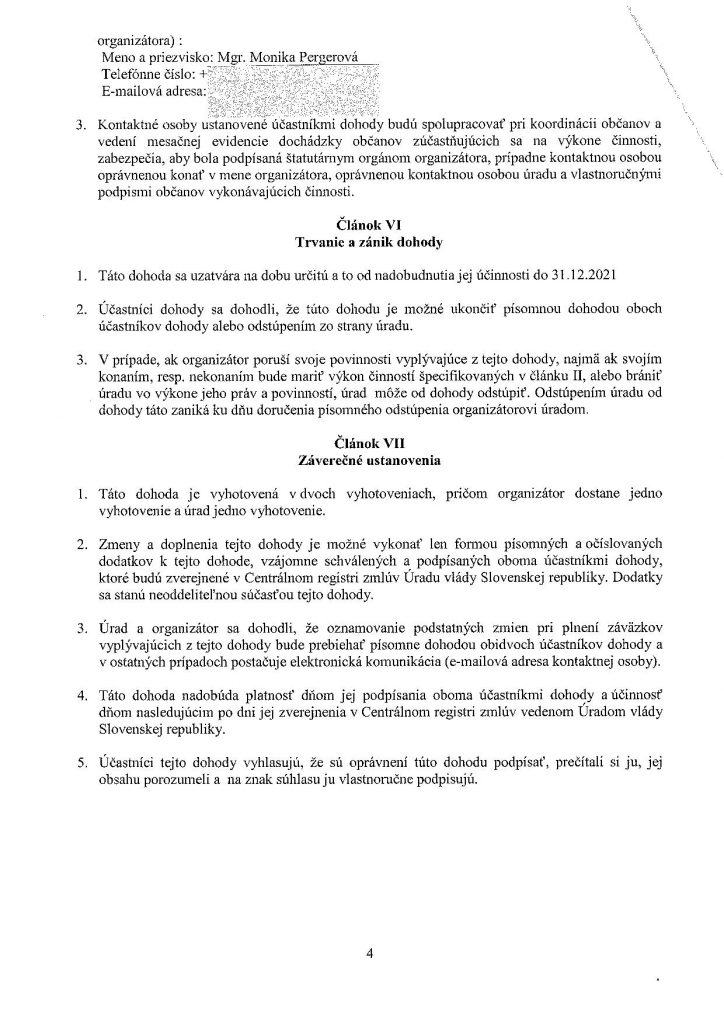 Zverejnenie dohody č. 20/41/010/205